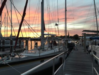 Boat with colorful sunset in Annapolis