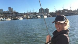 Emily outside Aquatic Park in San Fransisco