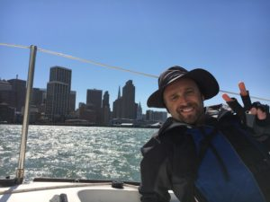 Matt giving the peace sign in the San Fransisco Bay