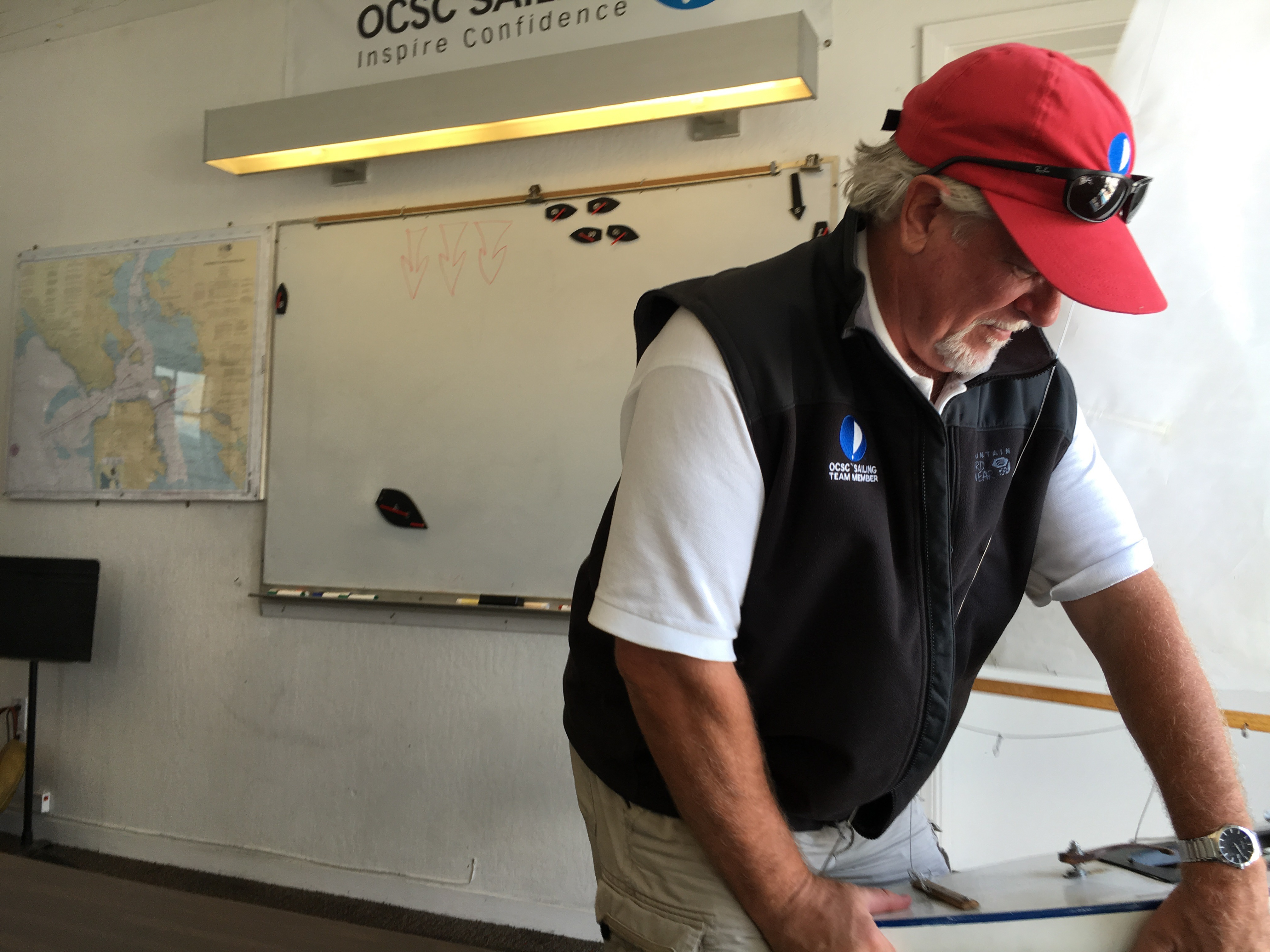 Instructor Mike at OCSC Sailing School in the classroom