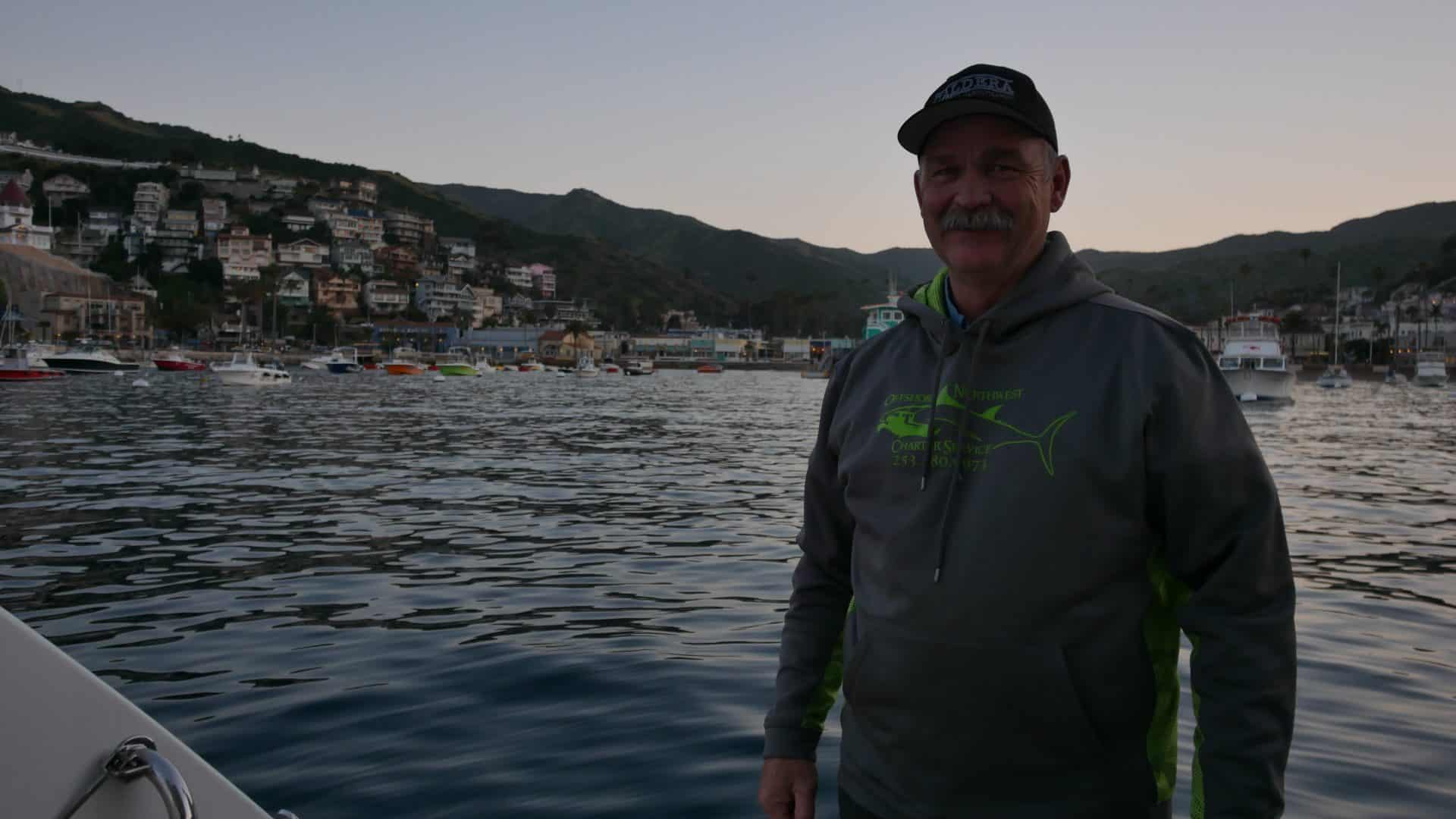 Tim at the end of the boat at Avalon, Catalina Islands