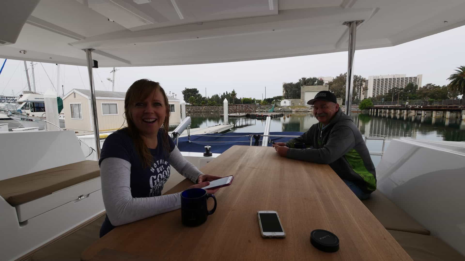 Emily and Tim, morning coffee in the Helia 44