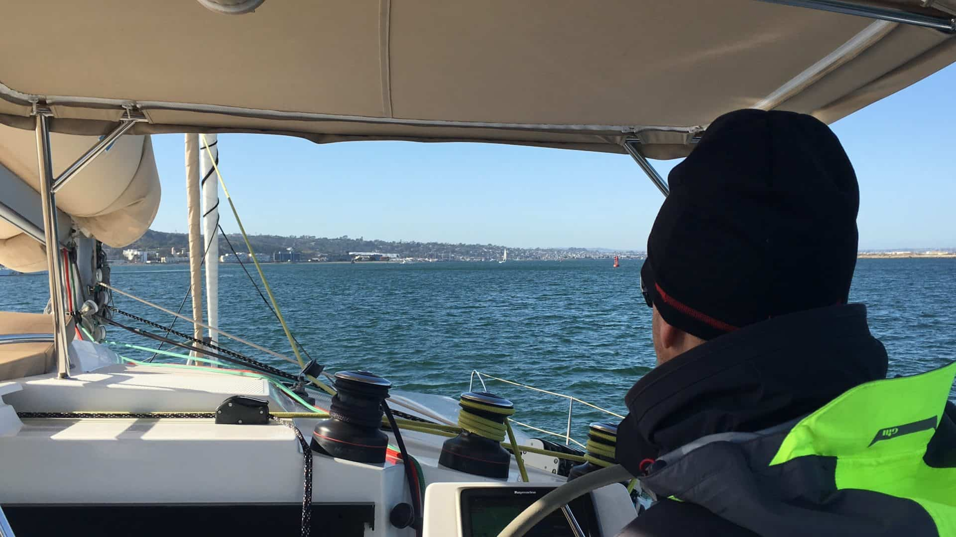 Matt at the helm of a Fountaine Pajot Helia 44