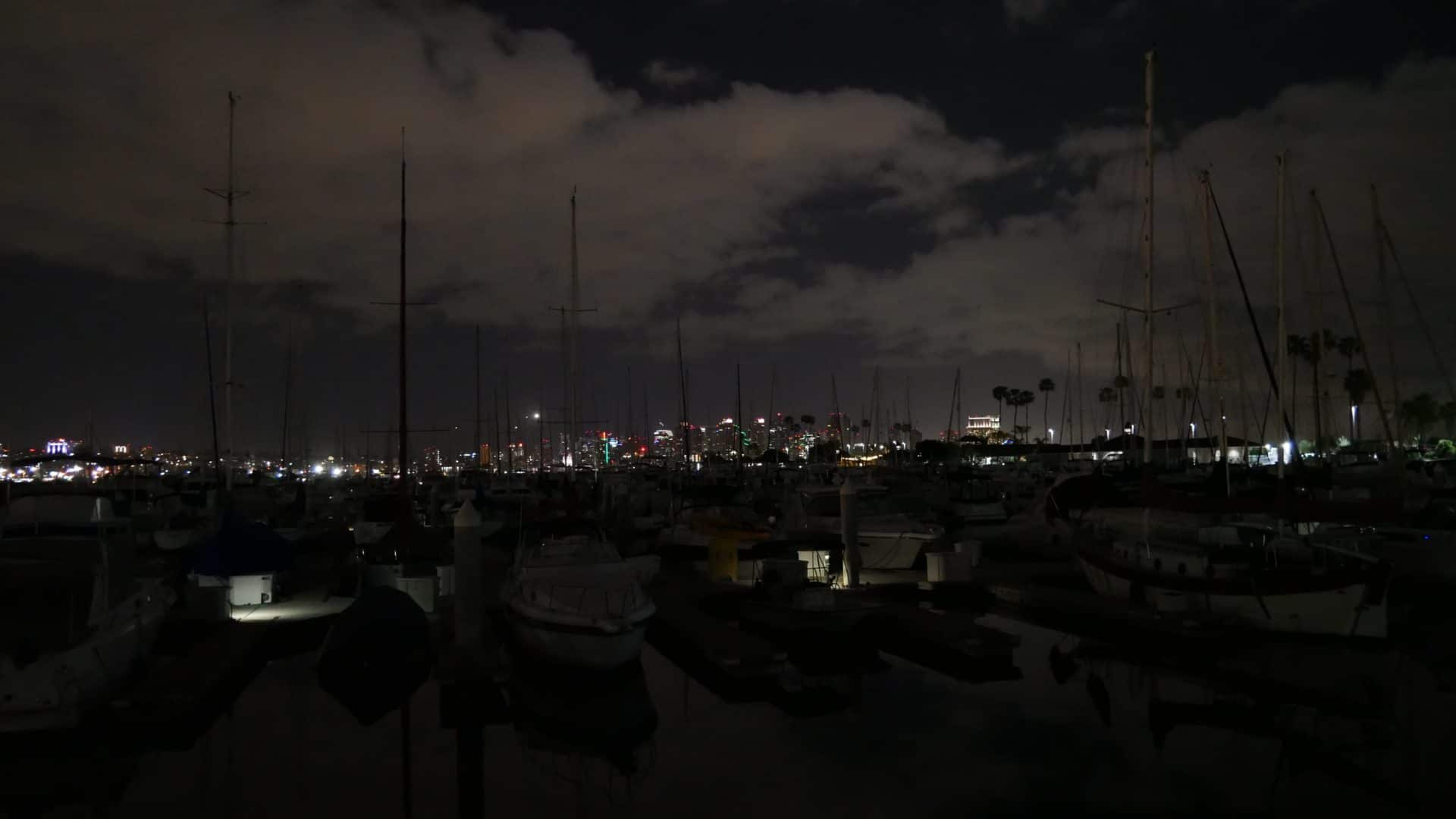 Night shot of the marina with San Diego in the background
