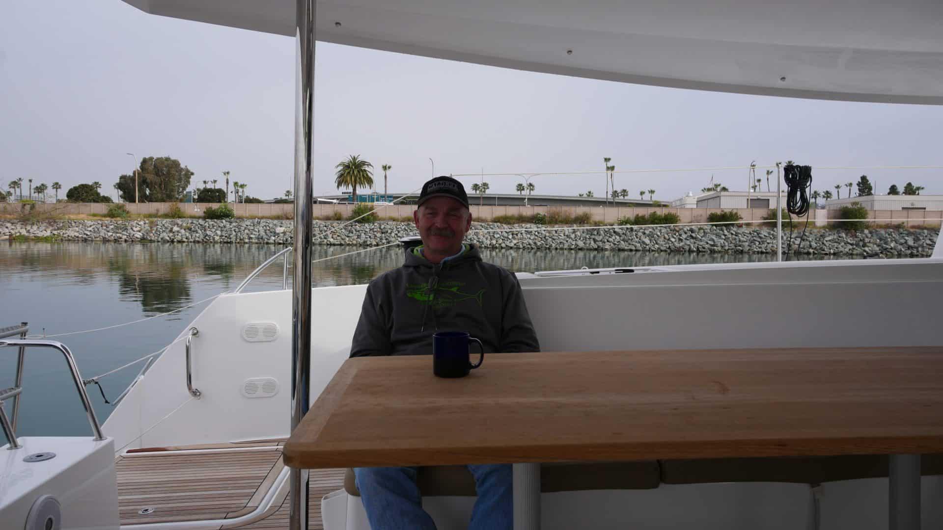 Tim having his morning coffee