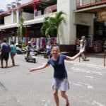 Emily in the streets of Tahiti