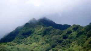 Fog over a mountain top in Moorea