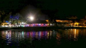 Lance Gala Dinner in Moorea at night with colorful lights