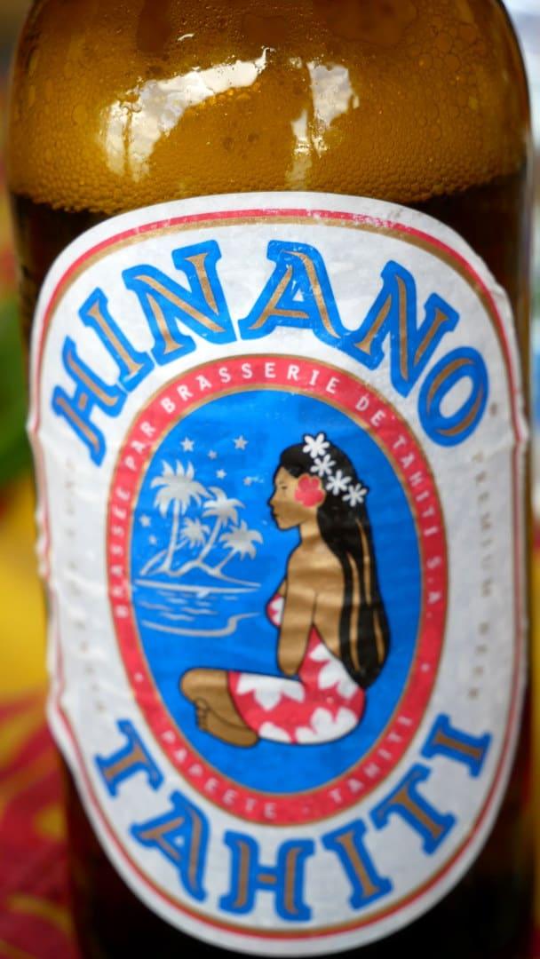 Close up of Hinano beer label