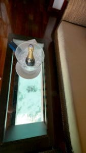 Champagne on table with floor window