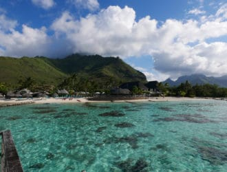 View from our bungalow to land in Tahiti, Mo'orea