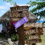 Painted directional signs in Moorea