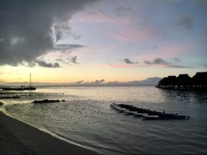Moorea beach at dusk
