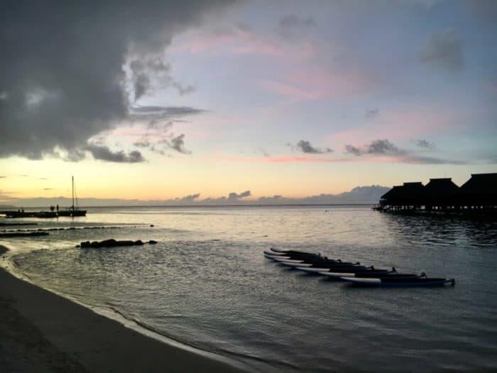 Moorea beach at dusk