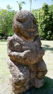 Close up of a single tiki statue in Tahiti