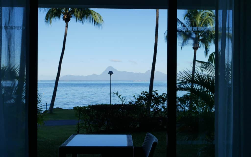Our view from the hotel room in Tahiti