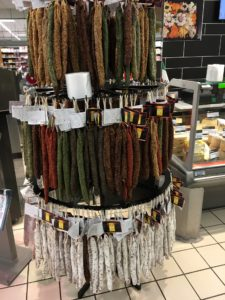 Dried sausage at the market in La Rochelle