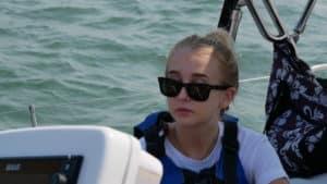 Sydney, Matt's daughter on a sailboat