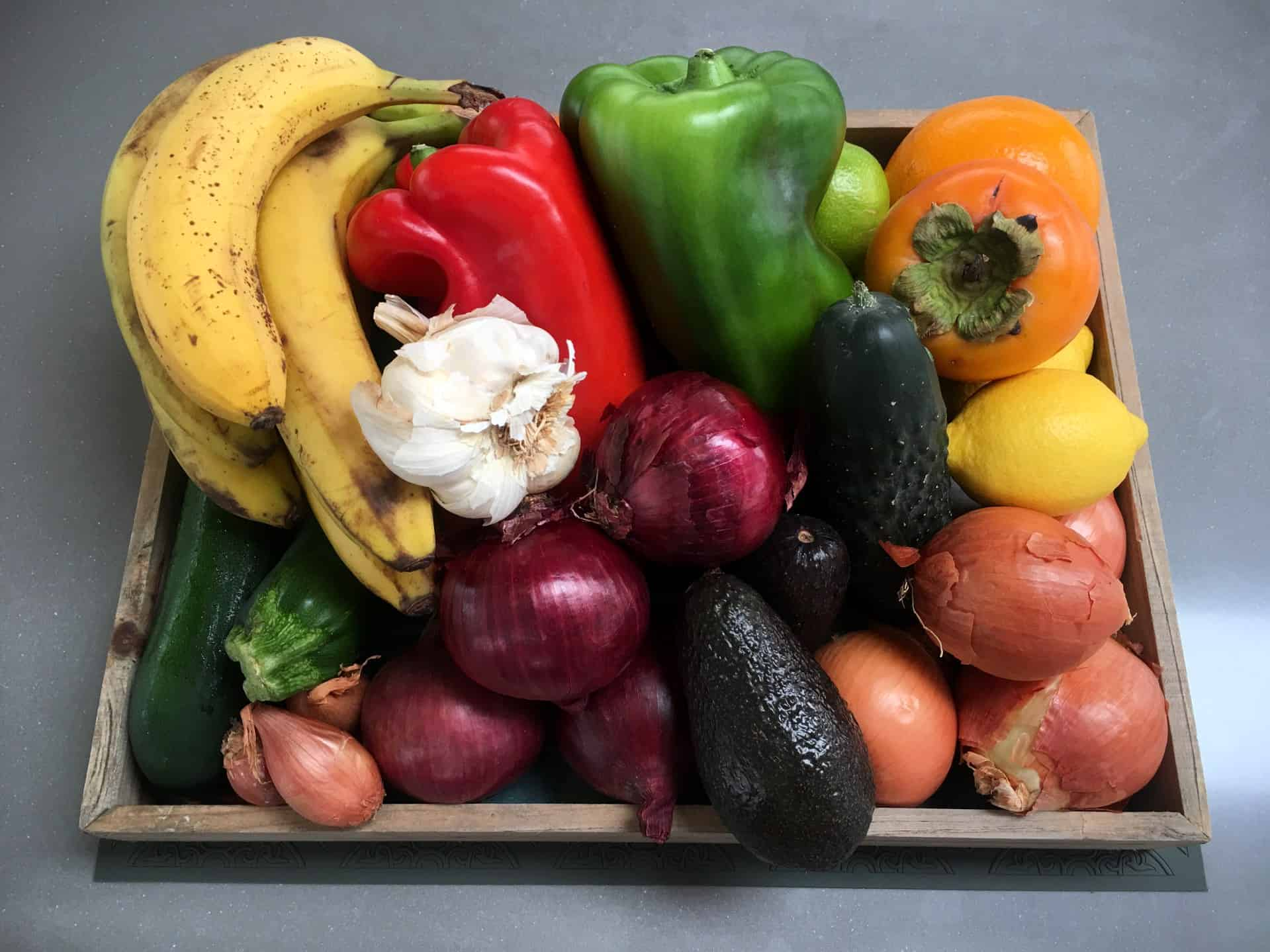a box full of vegetables