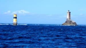Cardinal buoy and lighthouse