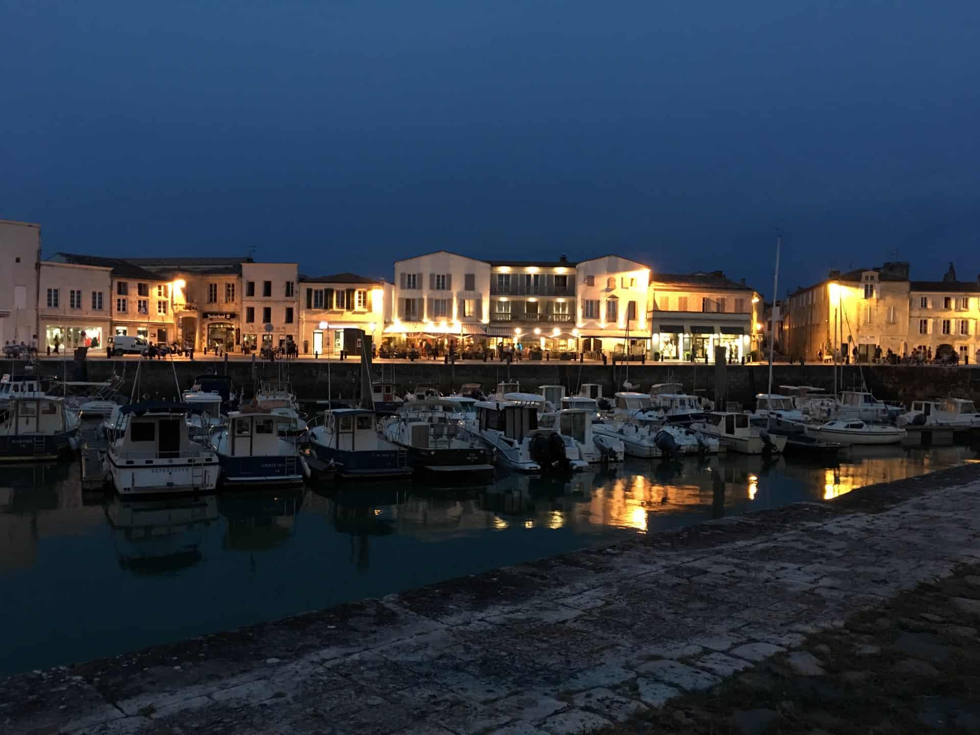 Marina in Ile de Re at night