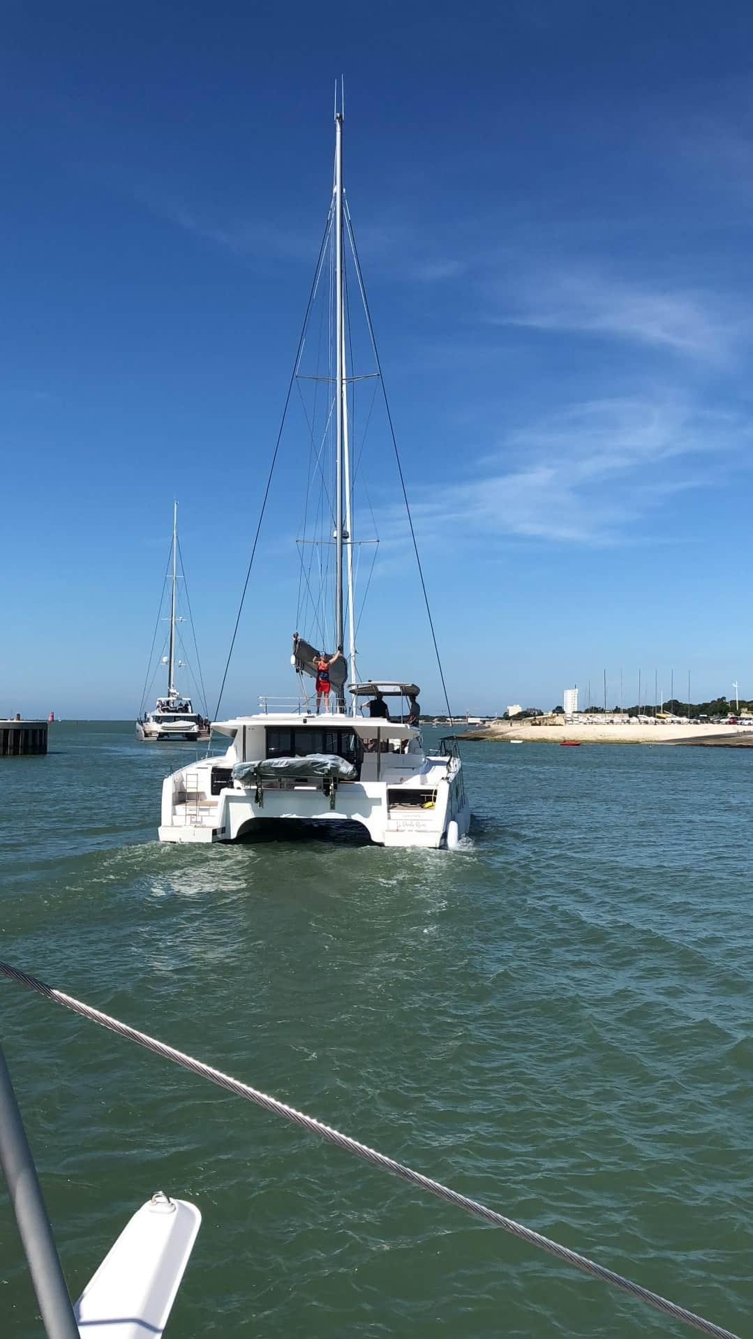 Isabelle sailing her boat