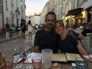 Matt and Emily having dinner in La Rochelle