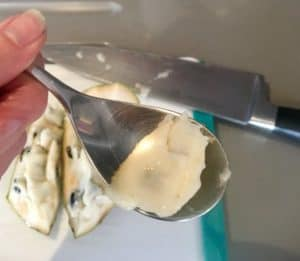 chirimoya on a spoon