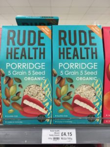 Two boses of cereal called Rude Health
