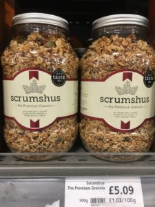 Two jars of cereal called Scrumshus