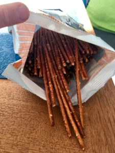 Pretzels sticks lined in their bag