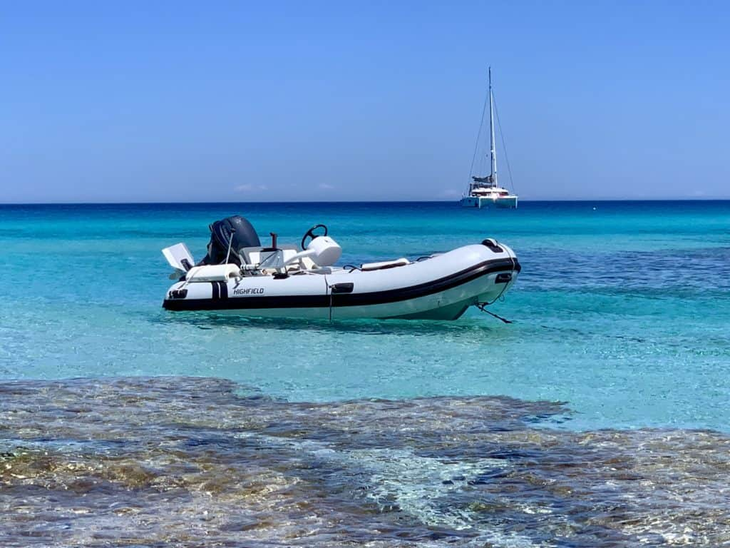 Highfield dinghy in clear blue water