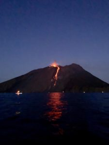 Volcano erupting at Stromboli