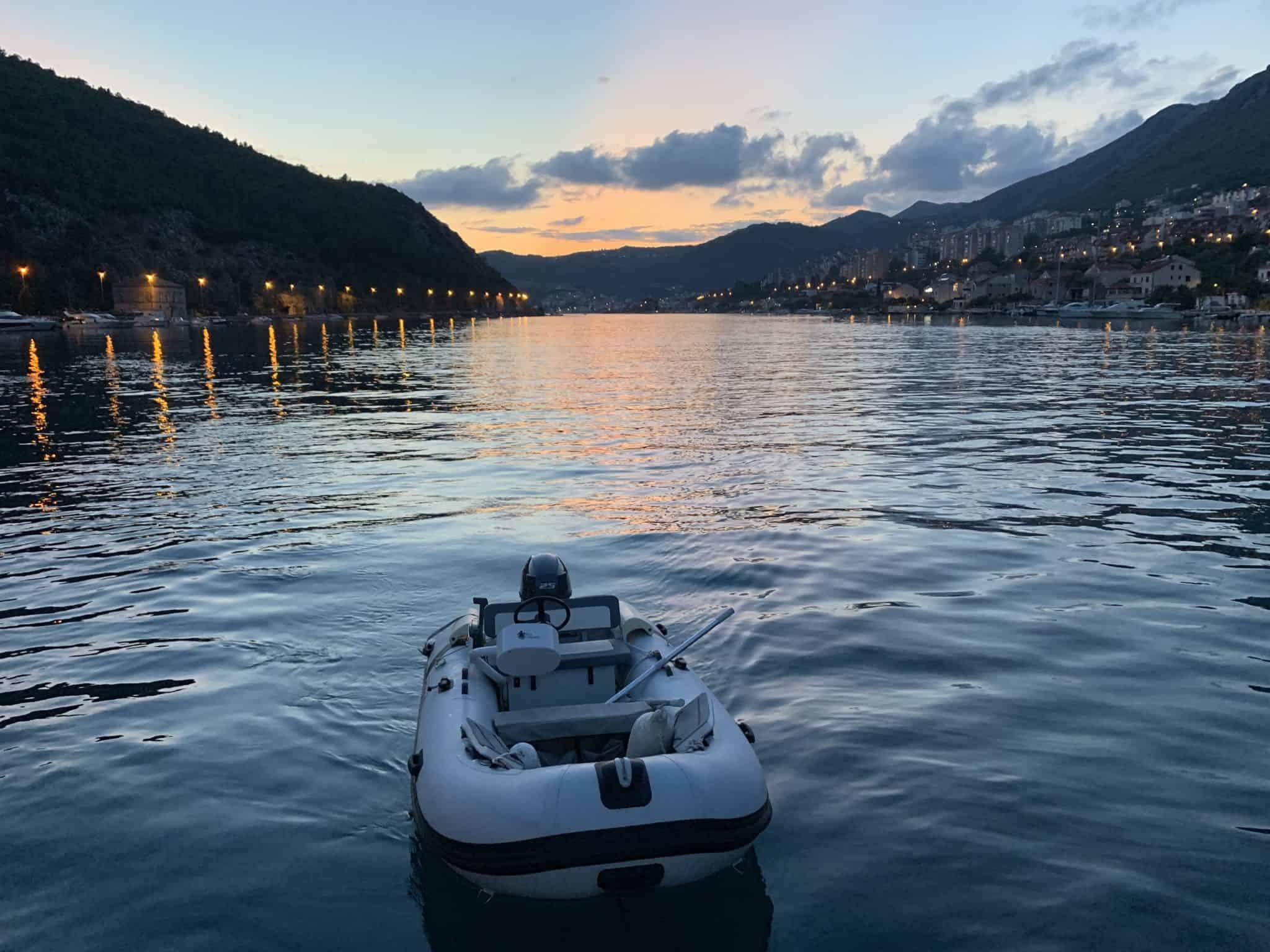 dinghy at night in Dubrovnik
