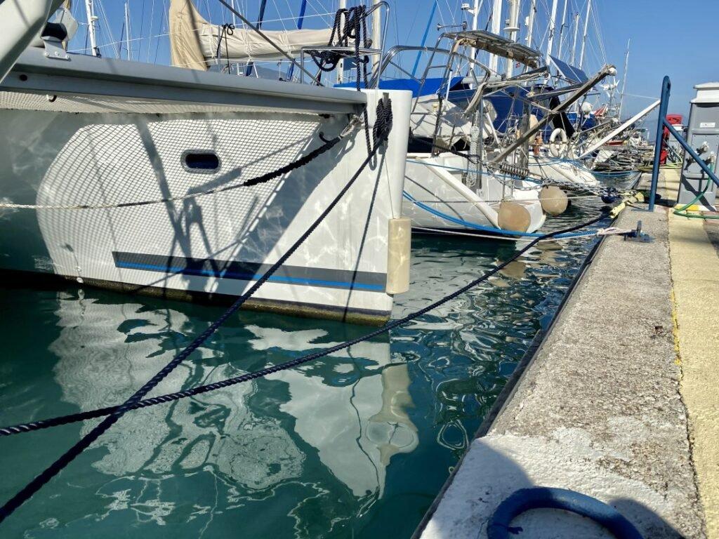 Dock lines and springs behind breakwater