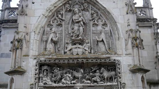 Close up view of stonework on St. Hubert Chapel