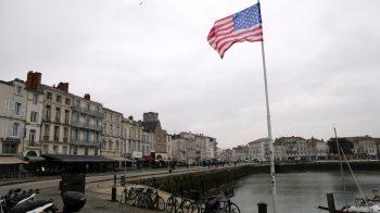 American flag flying in La Rochelle