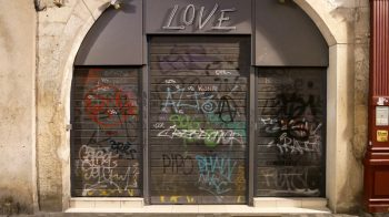 Graffiti on a store called Love in La Rochelle