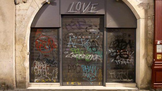 Graffiti on a store called Love in La Rochelle