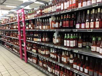 a whole aisle of rose wine